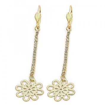 Gold Layered 5.087.001.1 Long Earring, Flower Design, with White Cubic Zirconia, Diamond Cutting Finish, Gold Tone