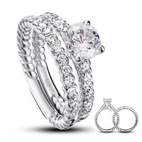 Ring. Simulated Diamond 925 Sterling Silver 2-Pcs Wedding Engagement Ring Set