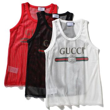 Gucci Women Reticulated Letters Print Tee Vest