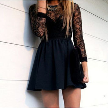 Black High Neck Homecoming Dress, Long Sleeve Beads Party Homecoming Dress