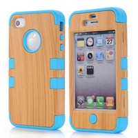Meaci Apple Iphone 4 4s Case Hard Soft Wood-plastic Composite&silicone Combo Hybrid Defender Bumper (sky blue)