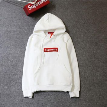 LMFHQ9 Supreme tide card plus cashmere classic BOX embroidery matcha green thin sweater coat men's hooded sweater ladies hoodie