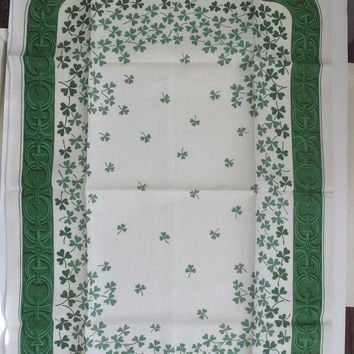 Irish Linen Tara Towel Green Clovers on Ecru Linen