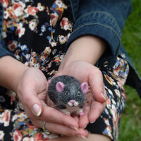 Needle Felted Wool Little mouse Funny wool toy Handmade Felt dol Mouse animals  Felted animals Soft sculpture Skateboard Miniature