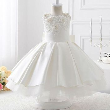 Evening White Satin With Bow Ball Gown Flower Girl Dresses New Fashion First Flower Girl Dress