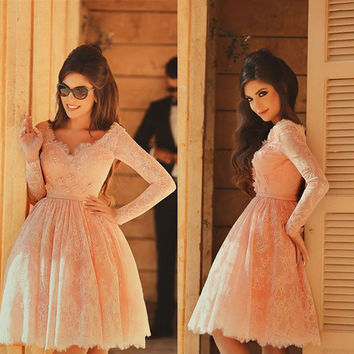 Pink Long Sleeves Homecoming Dresses,Sweet Lace Applique Homecoming Dress