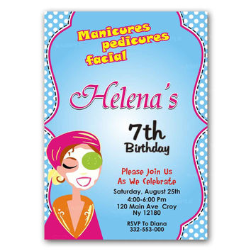 Spa Party Teal Polka Dot Kids Birthday Invitation Party Design