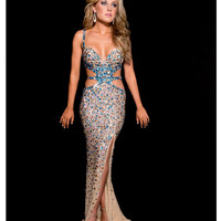 Jasz Couture 2013 Prom - Nude & Turquoise Sexy Rhinestoned Gown - Unique Vintage - Prom dresses, retro dresses, retro swimsuits.