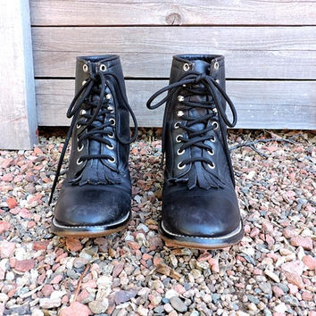 Womens Justin roper boots  US 5 / EU 35 / vintage black leather Justin ropers / cowgirl / lace up / western ankle boots / lacers