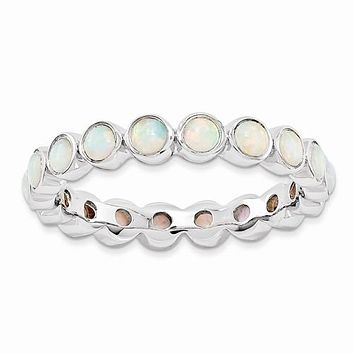Sterling Silver Stackable Expressions Round Created Opal Eternity Ring