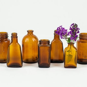 Antique Amber Brown Glass Bottle Collection