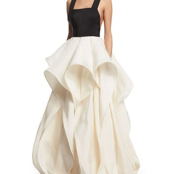 Rosie Assoulin Foxglove Sleeveless Silk Faille Gown