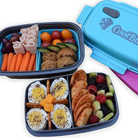 CoolBites Premium Bento Lunch Box - BPA Free Leakproof Multi Compartment Convertible Lunch Container with Built-in Freezable Gel Ice Pack