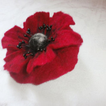 Felt wool Poppy brooch flower red felted poppy flower brooch wool black brooch pin  poppy jewelry handmade,hair pin accessories,women gift.
