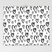 Inky Dinky Hearts Throw Blanket by All Is One
