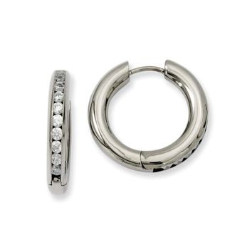 Titanium CZ Hinged Hoop Earrings 20mm