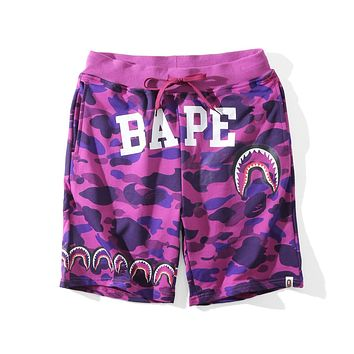 BAPE new fashion camouflage shark men and women beach shorts F-A-KSFZ Purple