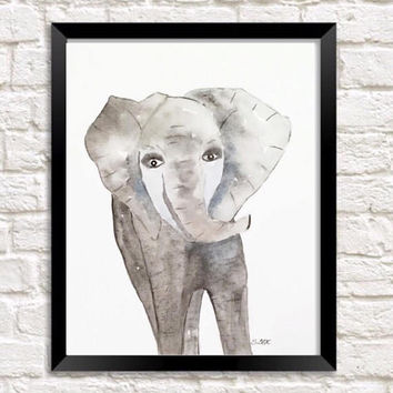 Baby elephant painting, watercolor nursery art, Original watercolor painting, nursery artwork, safari art animal, baby shower gift
