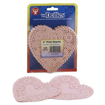 Hygloss Products Heart Paper Doilies – 4 Inch Pink Lace Doily for Decorations, Crafts, Parties, 100 Pack