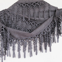 PASHMINA SCARF With Fringed Lace, For Women,For Gift, GRAY