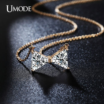 UMODE Cute Double Triangle Cubic Zirconia Chain Necklaces Gold Color Collier Femme Summer Jewelry for Gifts UN0111A