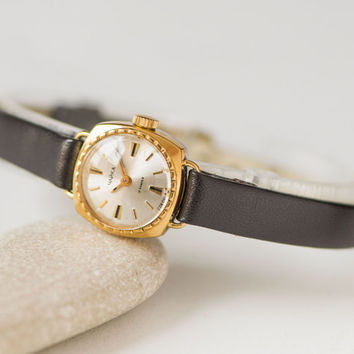 Tiny woman's watch, micro watch gold plated Seagull, feminine watch gift her, classic lady's watch, petite watch, premium leather strap new