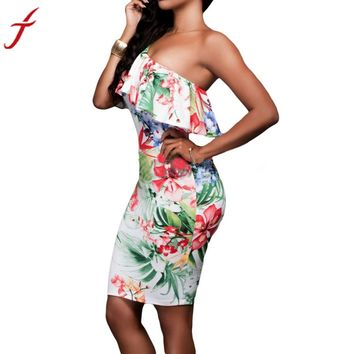Sleeveless Womens Mini One Shoulder Party Dress