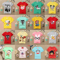 Boy Girls T-shirts Kids Clothes Lovely Dog Cat Cartoon 100% Cotton Short Sleeve T-shirts For Boy and Girl
