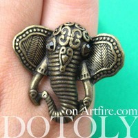 Adjustable Elephant Shaped Animal Ring in Brass with Textured Detail   DOTOLY