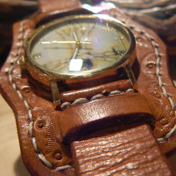 Leather watch , mens wrist watch , 5 year anniversary  ,anniversary gift  ,groomsmen gifLeather watch , mens wrist watcht,tLeather watch