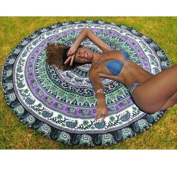 LMFU3C Art Floral Printed Indian Mandala Round Tapestry Wall Hanging Throw Towel Yoga Mat Blanket Boho Tablecloth Bedspread Home Decor