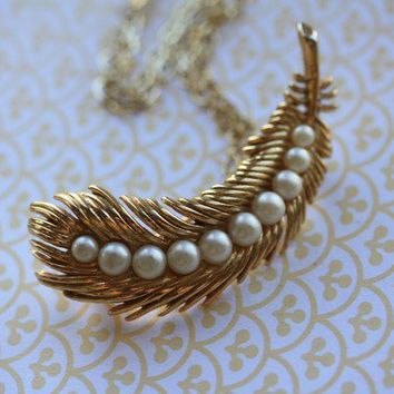 The Vintage Pearled Trifari Peacock Feather Necklace by FreshyFig