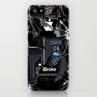 Broken, rupture, damaged, cracked black apple iPhone 4 5 5s 5c, ipad, pillow case and tshirt iPhone & iPod Case by Three Second | Society6