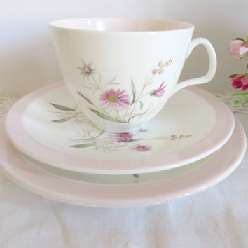 Foley vintage tea set for two, Summertime pattern, Pink floral tea set, Afternoon tea, Vintage tea party, Pink cup and saucer,Tea for two
