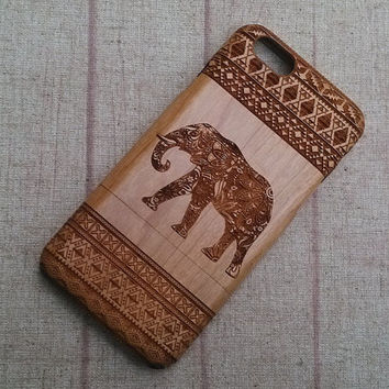 Wood iPhone case, iphone 6/plus case, iphone 4 case iphone 5 case. iphone 5c case, wood case, iphone case, Aztec with single elephant case