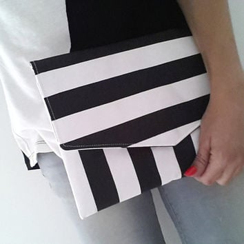 striped clutch black and white, envelope clutch bag, nautical clutch purse