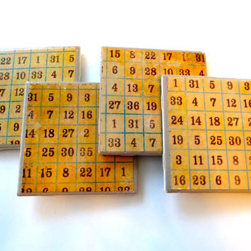Bingo Coasters, Numbers Coasters, Bingo Decor, Bingo Art, Game Night, Vintage, Grid, Board Game, Learning, Bridal, Wedding, Birthday, Gift