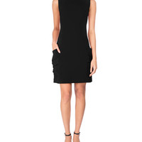 Victoria Beckham Sleeveless Patch-Pocket Minidress, Black