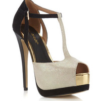 Honey Shimmer Mary Jane Heel - Heels  - Shoes