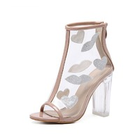 flower pattern cool boots fish mouth thin feet show white with crude high heels 11cm women s shoes crystal heel sandals