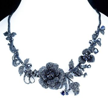 A Handmade Vintage 411.63CT Round Cut Deep Blue Sapphires and Black Rhodium Floral Necklace