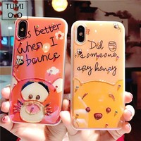 Luxury Gradient Blue Light Solf Silicone Cover Diamond Winnie Pooh and Tigger Pattern Phone Case For iPhone 6 6s 7 8 Plus X Capa