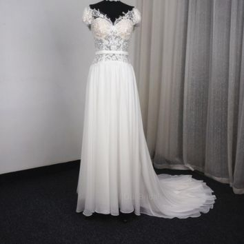 New Off Shoulder Thigh-High Slits Chiffon Wedding Dresses A Line Beach Backless Lace Appliqued Bridal Gowns Bohemian