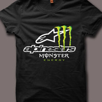 Monster Energy Alpinstar Logo Men Black T Shirt