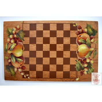 Antique / Vintage Hand Painted Fruit Wood Checkerboard Bread Board Tray