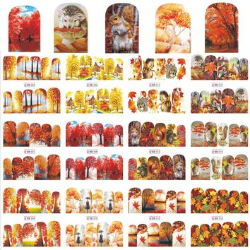 12 Designs/Sets Beautiful Autumn View Nail Sticker Full Cover Wraps Red Maple DIY Water Transfer Tattoos Decals BN505-516