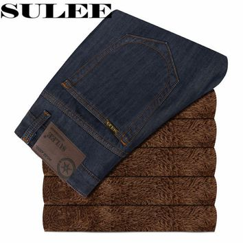 SULEE Brand 2017 winter The New Version Of Velvet Mens Jeans Casual Jean Trousers Straight Denim Pants Men Warm Jeans Male