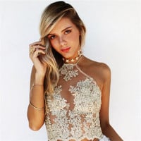 Elegant Floral Embroidery Lace Crop Top