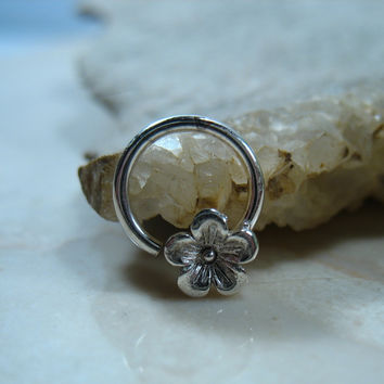 Septum Ring Silver Cherry Blossom