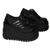 Demonia Stomp 08 Vegan PU Black Platform Womens Shoes 80s Gothic Industrial Punk